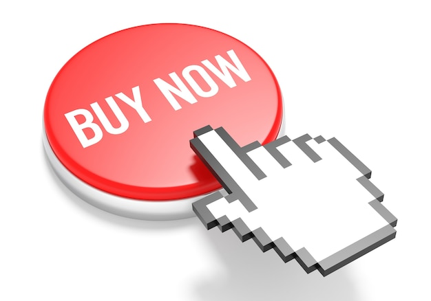 Mouse hand cursor on red buy now button. 3d illustration.