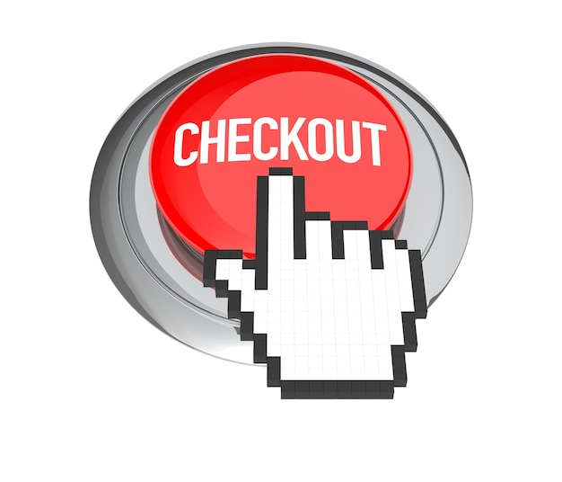 Mouse hand cursor on red checkout button. 3d illustration.