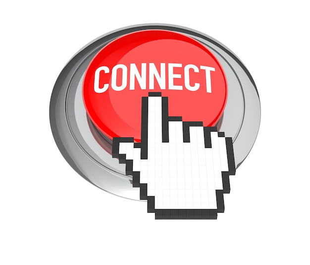 Mouse hand cursor on red connect button. 3d illustration.