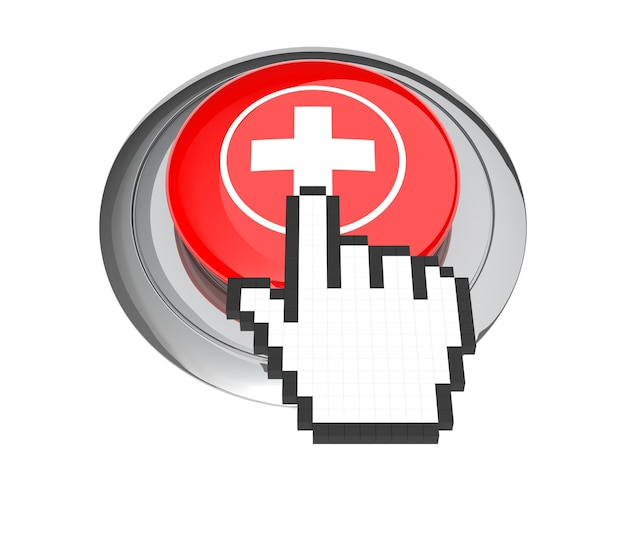 Mouse hand cursor on red first aid button. 3d illustration.