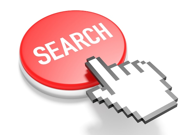 Mouse hand cursor on red search button. 3d illustration.