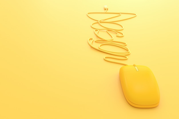 Mouse yellow with copy space