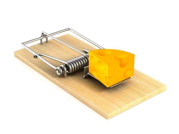 Mousetrap and cheese on white space. isolated 3d illustration