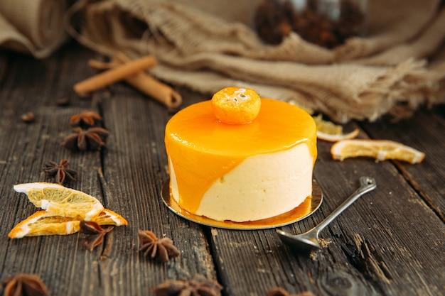 Mousse cake with orange, orange cheesecake