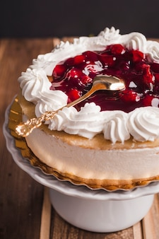 Mousse tart with cherry jam