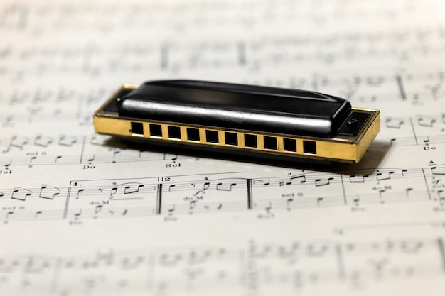 Mouth organ or harmonica on a music score or sheet music with selective focus to the musical instrument and copyspace