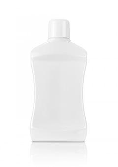 Mouthwash white plastic bottle isolated