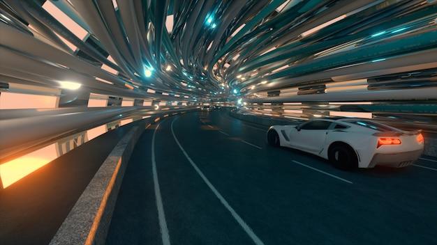 The movement of cars on a futuristic bridge with fiber optic