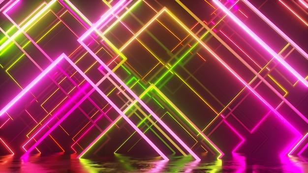 ガラスネオンブロックの動き。現代の紫外線照明。 3dイラスト