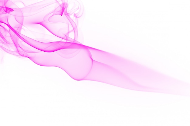 Movement of pink smoke abstract on white