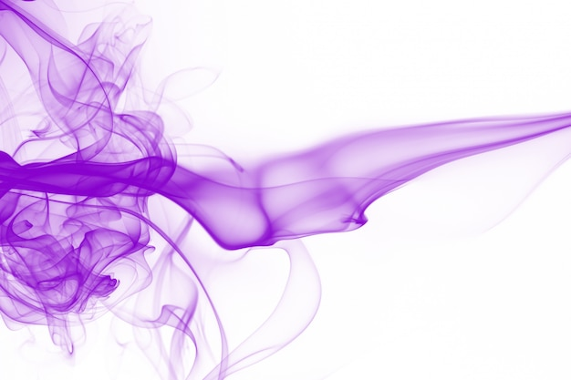 Movement of purple smoke abstract on white background