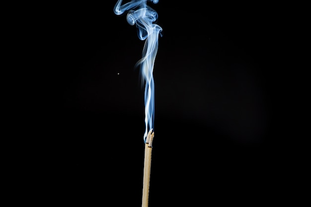 Movement of smoke from  joss stick on black background