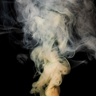 Movement of white dense swirl smoke on black background