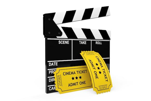 영화 클래퍼 보드 및 흰색 배경에 티켓 1장 인정
