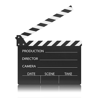 Movie clapper board isolated on white.