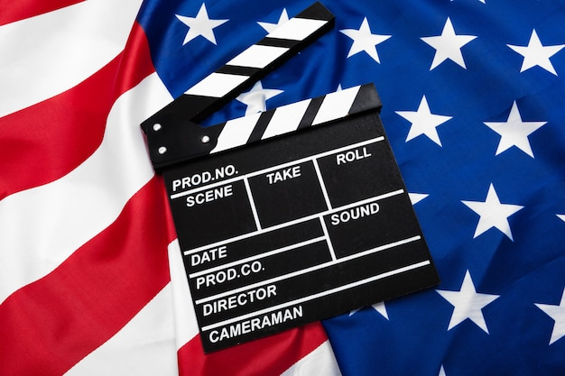 Movie clapper board with usa flag