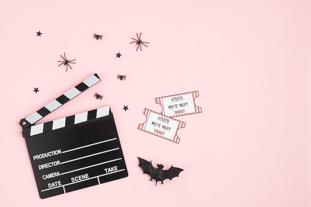 Movie clapperboard and halloween decoration