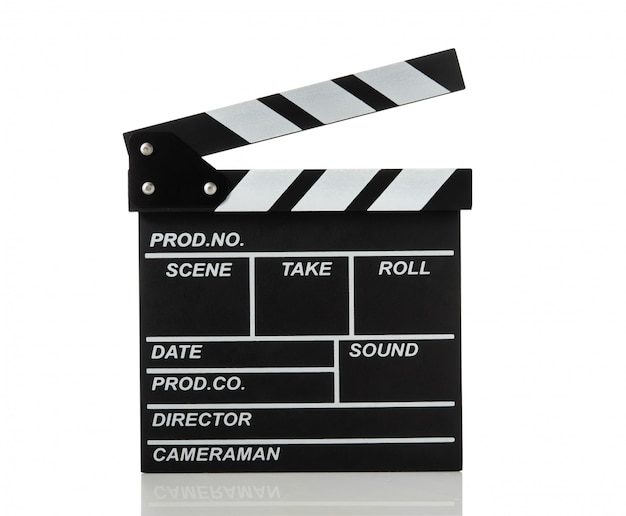 Movie clapperboard on white isolated space