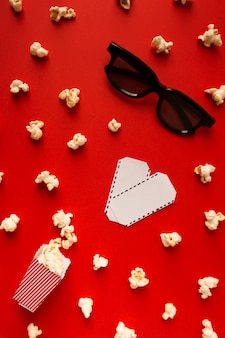 Movie composition on red background