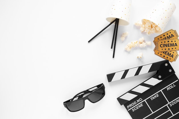 Movie elements on white background with copy space