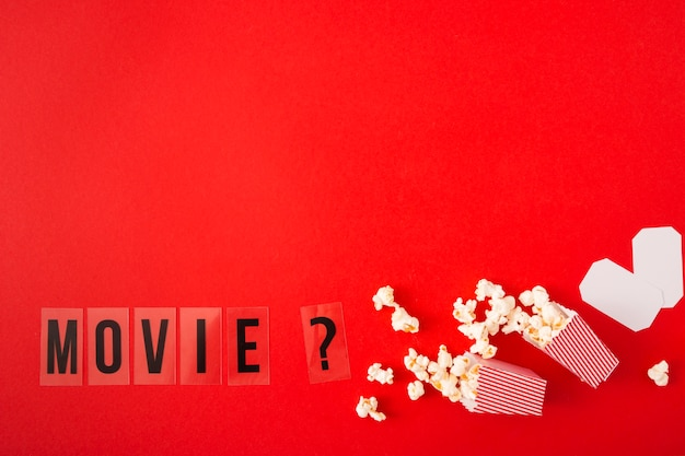 Movie lettering on red background with copy space
