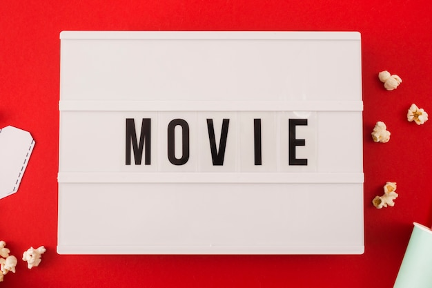 Movie lettering on red background