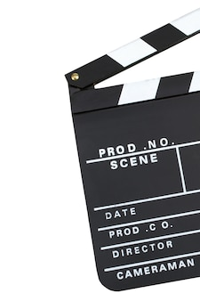 Movie production clapper board over dark background with copy space