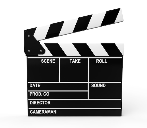 Доска с хлопушкой кинопроизводства на белом фоне