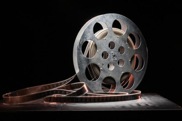 Movie reel on a wooden surface
