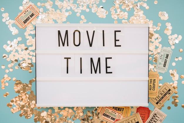 Movie sign with confetti