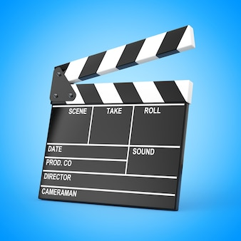 Доска хлопушки шифера фильма на синем фоне. 3d рендеринг