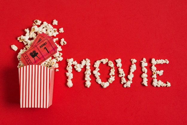 Movie text made of popcorn