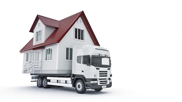 트럭 3d 렌더링으로 집을 옮기다