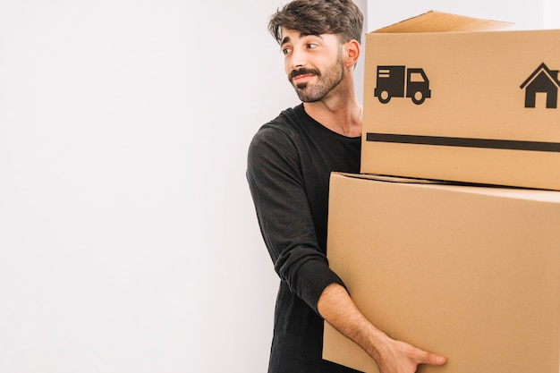 Moving concept with smiling man