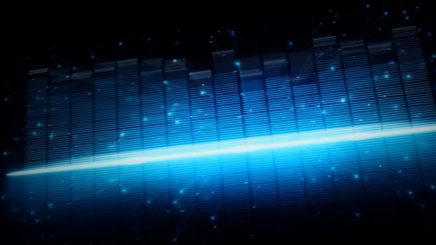 빠른 음악 이퀄라이저 바 이동. 음악 소리에서 더 깊은 소리와 감성을 표현합니다. 검정색 배경의 오디오 파형 이퀄라이저. 시각화 도우미 개요. 어둠 속에서 움직이고 빛나는 디지털 그래프.