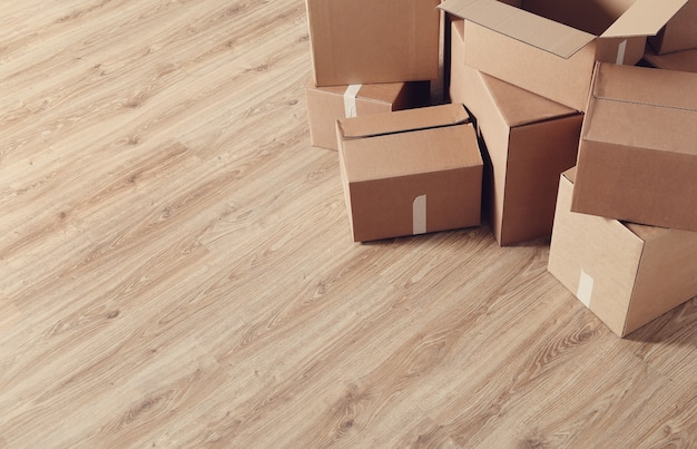 Moving home with cardboard boxes
