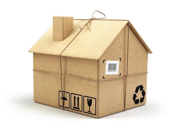 이사 집 부동산 시장 배달 개념 흰색 3d에 고립 된 집으로 골 판지 상자