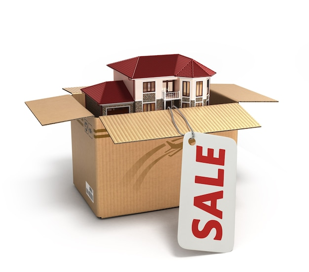 Moving house. real estate market. three-dimensional image. 3d illustration