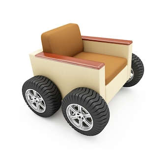 Переезд в новое жилище или концепция перевозки мебели. современное кресло на колесах изолированные
