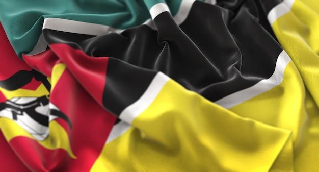 Mozambique flag ruffled beautifully waving macro close-up shot