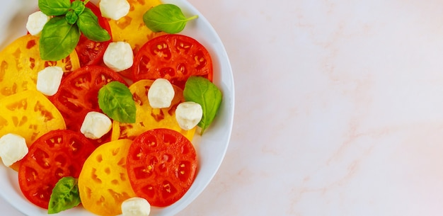 Моцарелла, базилик и помидоры на белой тарелке. вид сверху крупным планом.