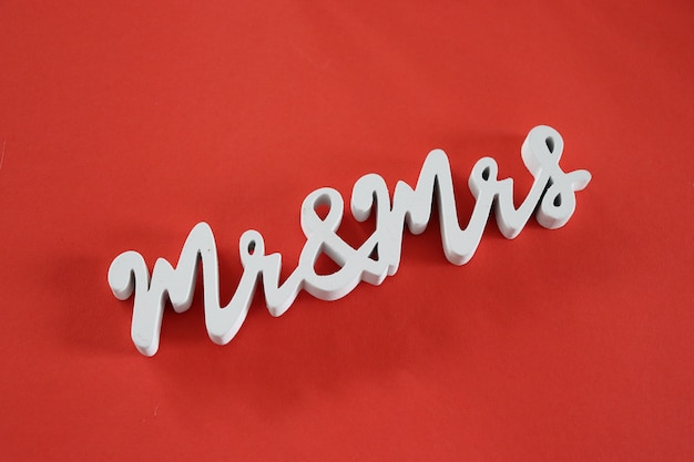 Mr and mrs words on red background