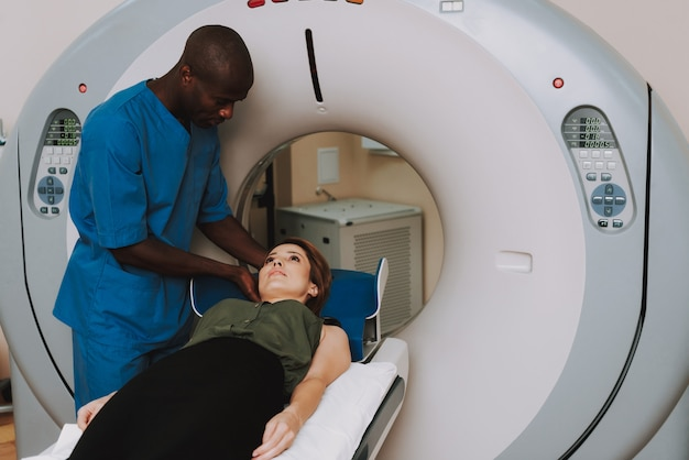Mri diagnostic afro doctor puts patient down