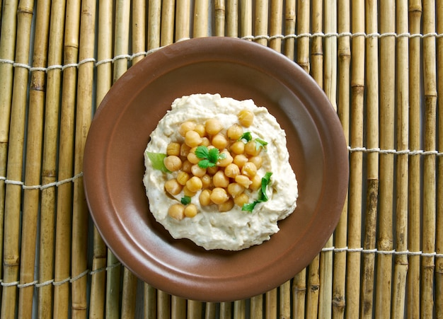 Msabbaha variation of hummus popular in the levant