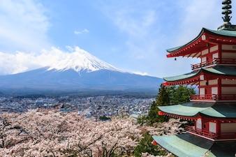 Mt. Fuji viewed from behind Chureito Pagoda or Red Pagoda