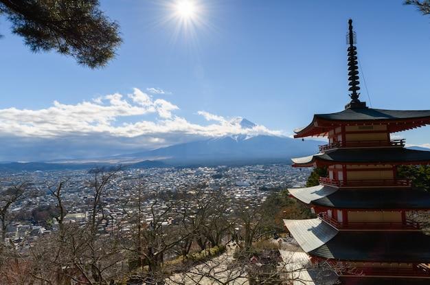 Mt. fuji with chureito pagoda in autumn