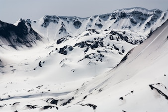 Mt. St. Helen's lava dome close up with snow