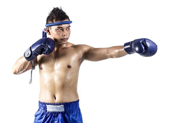 Muay thai, asian man exercising thai boxing isolated on white background