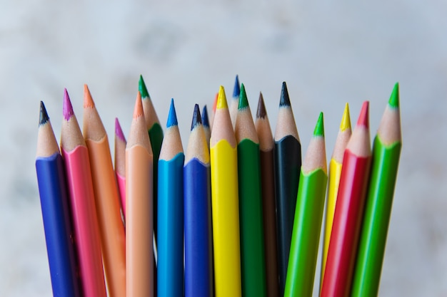明るい自然な背景に多くの色鉛筆。