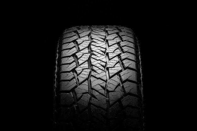 Mud all-season all terrain tire with a powerful tread. front view close up